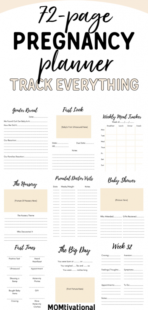 A 72-Page Printable Pregnancy Planner for Expecting Moms. There are so many things to do in the weeks leading up to the arrival of your little one. #pregnancy #printable #planner