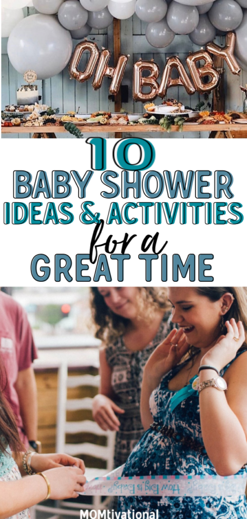 10 Fun and Easy baby shower ideas and activities EVERYONE will love. Whether you're having a baby shower for boy or girls, there will be something on this list you will love! #babyshower #babyshowerideas #babyshowergames