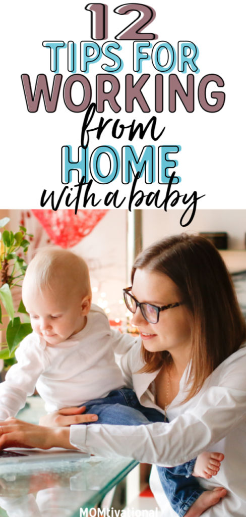 Working from home with a baby can be HARD. Learn how to work from home with kids- must read tips for being a work at home mom. Having a routine seriously helps with time management when you work from home. Whether you have a baby, toddler or older kids these WAHM tips have got you covered! #wahm #sahm #mom #adviceformoms #kidsandparenting