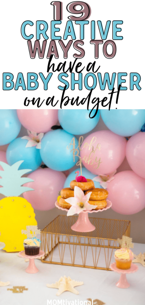 Trying to plan a baby shower on a budget? It's completely possible! A cheap baby shower can be as (if not MORE) fun than a pricey, over-the-top one. From finding dollar store decorations and making your own cake, you just need a little bit of creativity. A baby sprinkle is also an exciting way for a new mom to celebrate her newborn baby! #babyshower #diybabyshower #budgetbabyshower #cheapbabyshower #newmom #budgetfriendlyshower