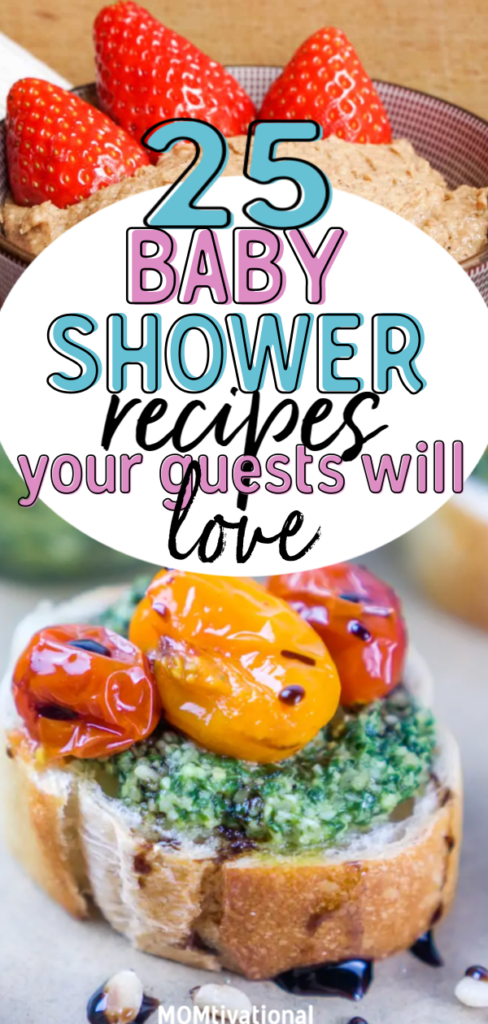 Trying to plan the perfect baby shower but have no idea what foods to serve? These baby shower food ideas are the perfect recipes that will wow your guests and welcome your newborn baby during the party #babyshower #babyshowerfoodideas #budgetshower #newmom #cheapbabyshower