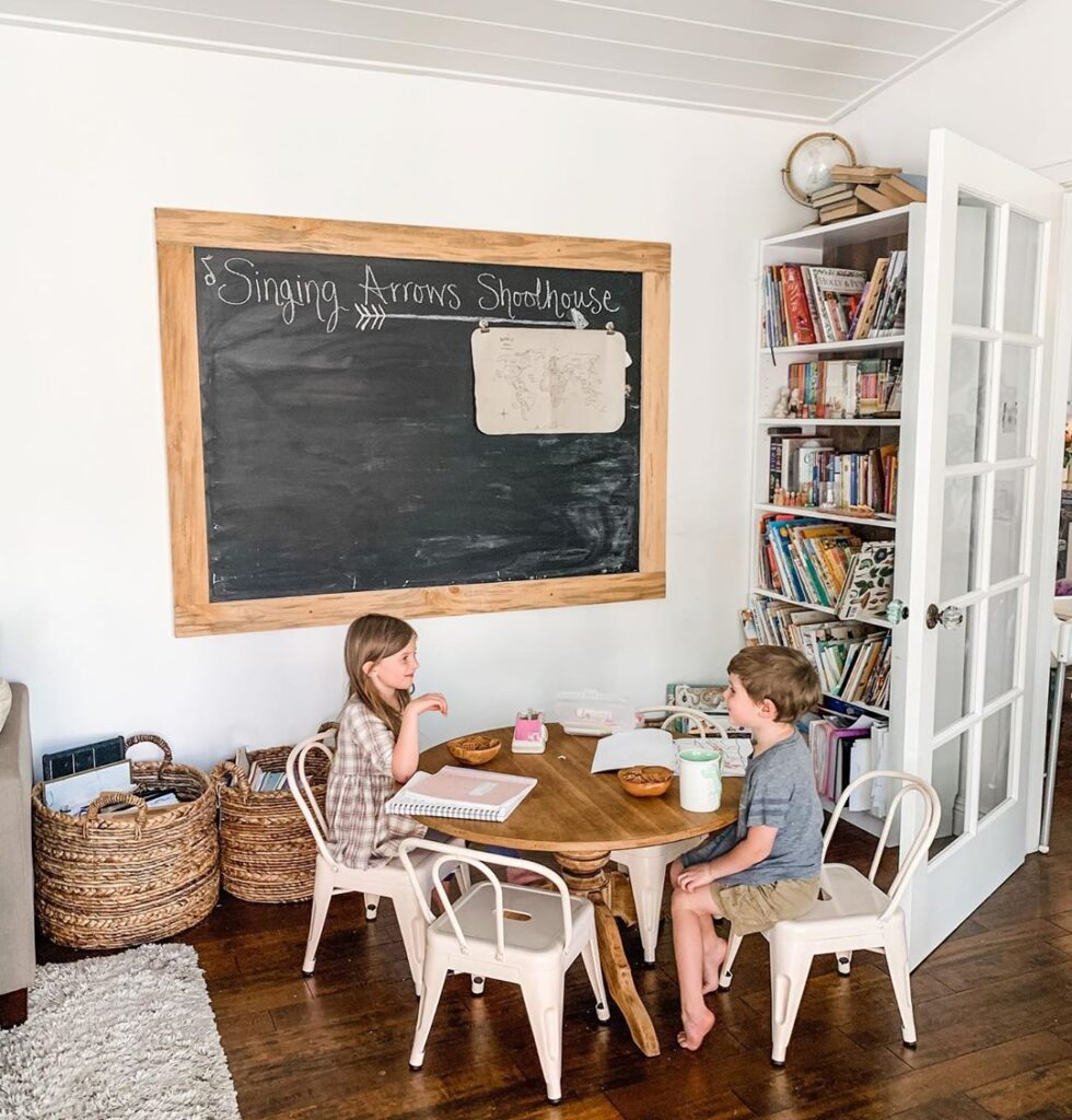 Setting up a homeschool room in your home doesn't have to be difficult! It is quite easy to create a learning center for your kids, even if your homeschool room is in a small space and on a budget! #homeschool #classroom #homeschoolroom #smallspaces