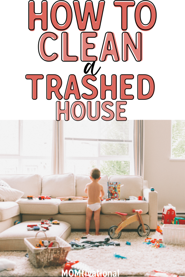 How to keep a home clean when you are completely paralyzed by the mess! Figuring out how to clean a trashed home can be hard, but it's completely possible! Even if you have small children, you can tidy your home with these easy decluttering tips and tricks! #CleaningTips