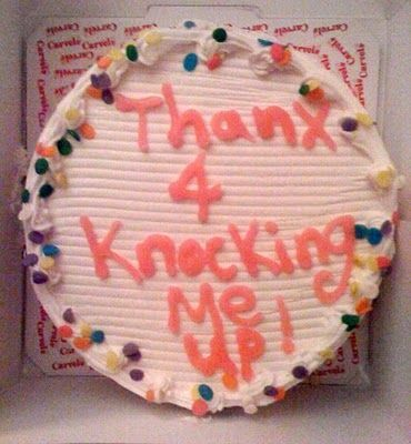 Thank you for knocking me up Pregnancy Cake Announcement