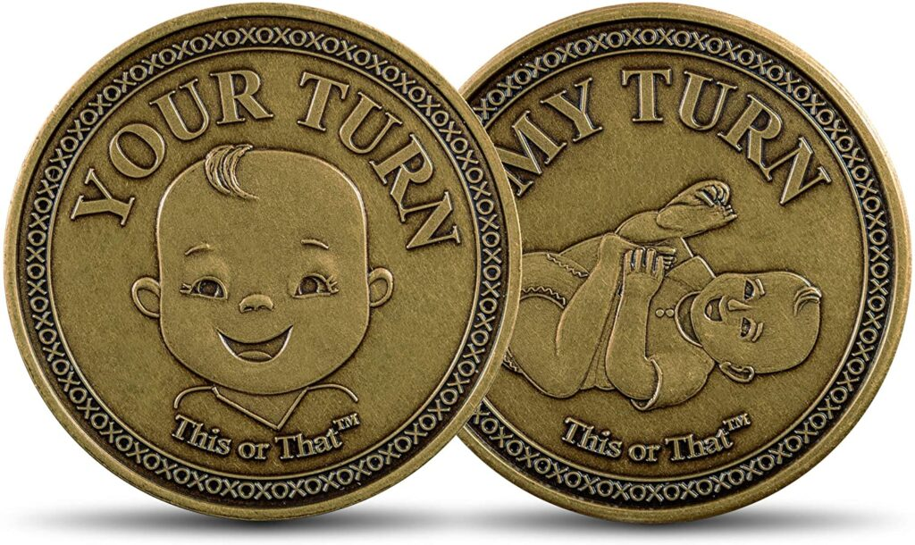 Your Turn Or My Turn: Diaper Changing Coin. Funny Gift Idea For Baby Shower..