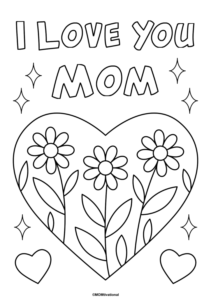 'I Love You Mom' Coloring Page Printable Perfect for Mothers Day - FREE Mothers Day Coloring Page For Kids