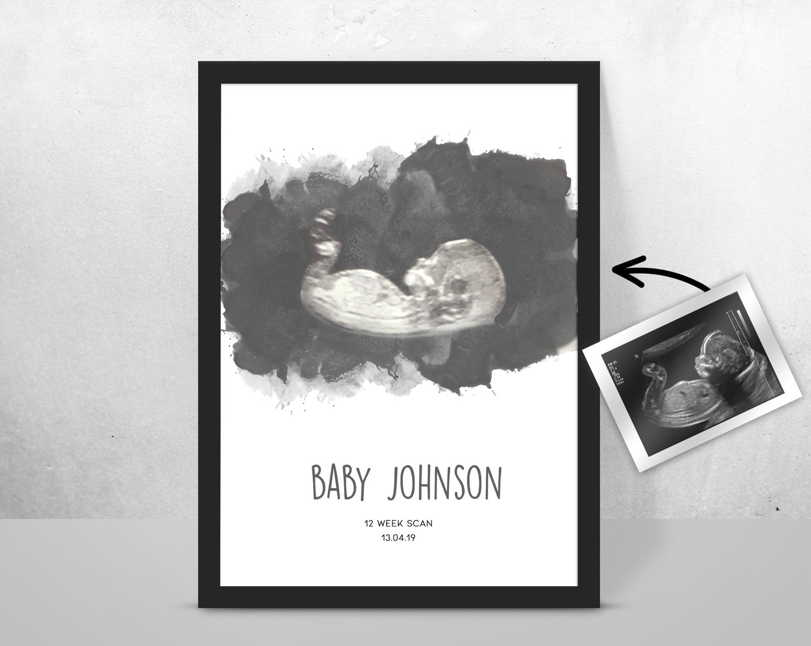 Personalised BABY Scan Ultrasound Watercolour Print 4D