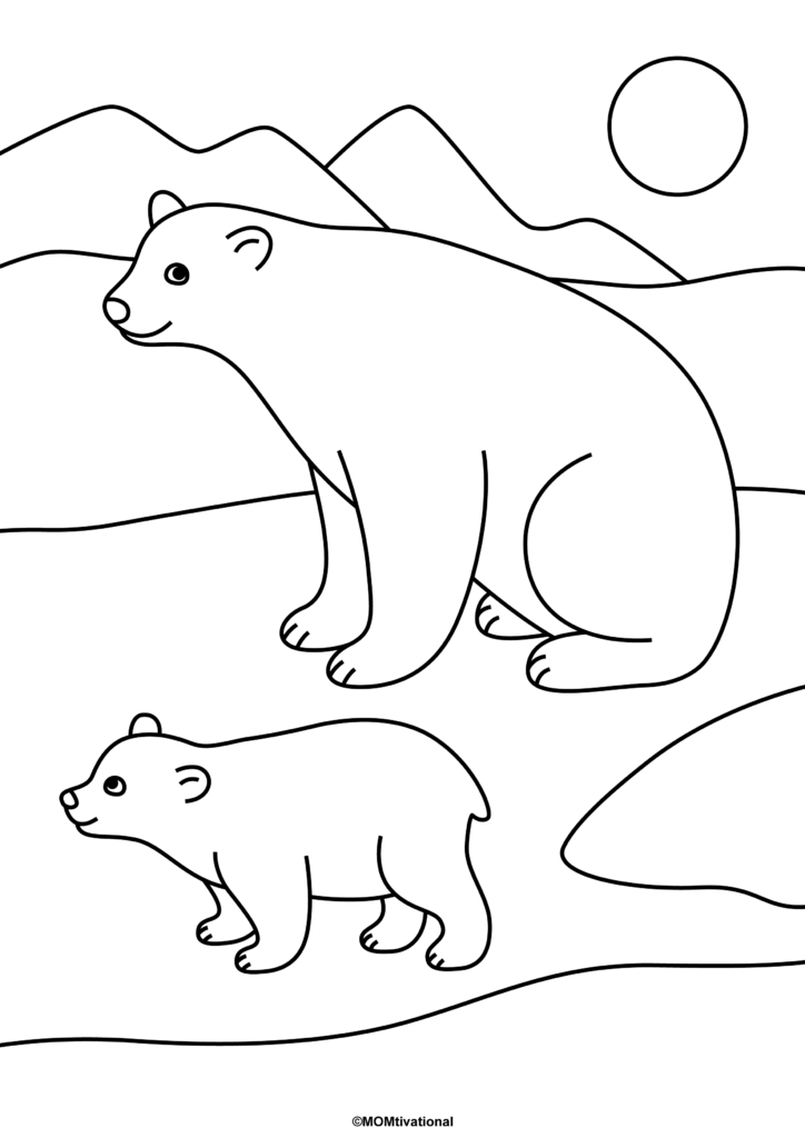 Polar Bear Coloring Page Printable Featuring a Polar Bear Mom and Her Cub